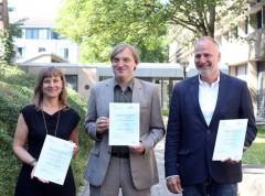 f. l.: Simone Sandholz, Dr. Udo Nehren, Prof. Dr. Michael Hagen. (Bild: Yvonne Klasen/FH Köln)