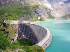 Concrete dam wall of Kaprun power plant, Salzburg Alps, Austria
