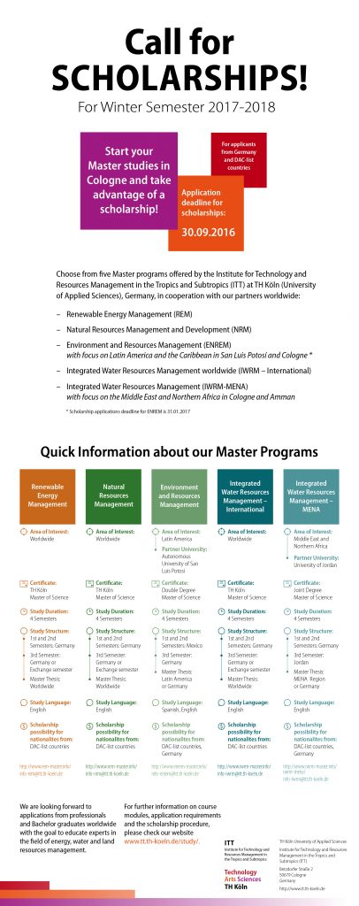 An information flyer about the five master programs offered at ITT.